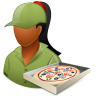 96x96px size png icon of Occupations Pizza Deliveryman Female Dark