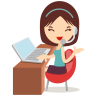 96x96px size png icon of callcenter girls blue