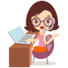 96x96px size png icon of callcenter girls glasses