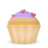 96x96px size png icon of cupcake cake hearts