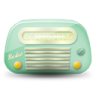 96x96px size png icon of vintage radio 02 green dark