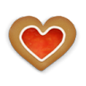 96x96px size png icon of christmas cookie heart