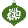 96x96px size png icon of Sale 50 percent off heart green