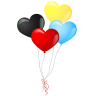 96x96px size png icon of heart balloons