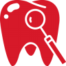 96x96px size png icon of Tooth red