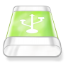 96x96px size png icon of drive green usb