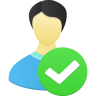 96x96px size png icon of Male user accept