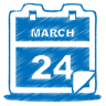 96x96px size png icon of blue calendar