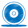 96x96px size png icon of blue cd