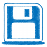 96x96px size png icon of blue disk