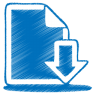 96x96px size png icon of blue document download