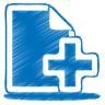 96x96px size png icon of blue document plus