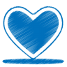 96x96px size png icon of blue heart