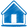 96x96px size png icon of blue home