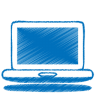 96x96px size png icon of blue laptop