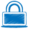 96x96px size png icon of blue lock