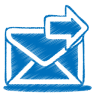96x96px size png icon of blue mail send