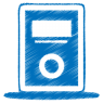96x96px size png icon of blue mp3 player