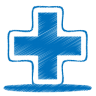 96x96px size png icon of blue plus