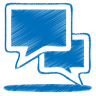 96x96px size png icon of blue talk