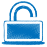 96x96px size png icon of blue unlock