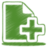 96x96px size png icon of green document plus
