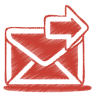 96x96px size png icon of red mail send