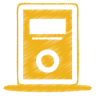 96x96px size png icon of yellow mp3 player