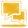 96x96px size png icon of yellow talk