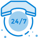 7 days, 24 hours, 24 hours, telephone consultation Icon