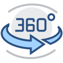 360 degrees, VR, AR, AI, technology only Icon