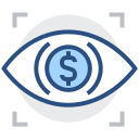 Iris recognition, finance, scanning Icon