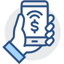 Mobile marketing, mobile money making, mobile account checking Icon