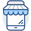 Mobile store, micro store, online store, mobile marketing Icon