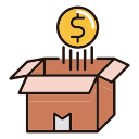 money coin float over opened box Icon