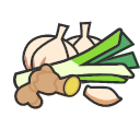 Onion, ginger and garlic Icon