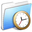 Aqua Stripped Folder Clock Icon