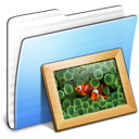 Aqua Stripped Folder Pictures Icon