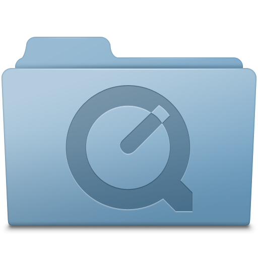 QuickTime Folder Blue icon free download as PNG and ICO formats
