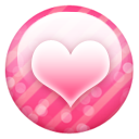 Pink button heart Icon