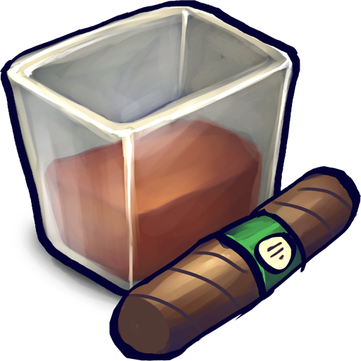 Brown Liquid Filled Glizass With Cigar Icon