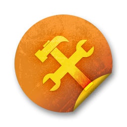 Orange sticker badges 142 Icon