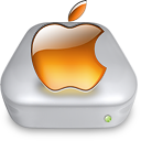 Drive Apple tangerine metal Icon