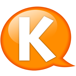 Speech balloon orange k Icon