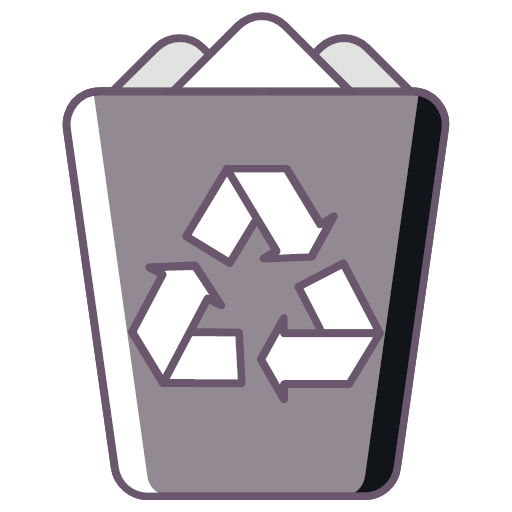 Trash in dustbin, recycle bin delete Icon