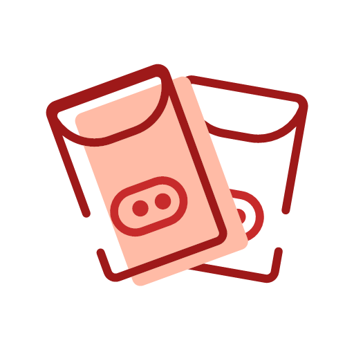 Red envelopes in pig year Icon