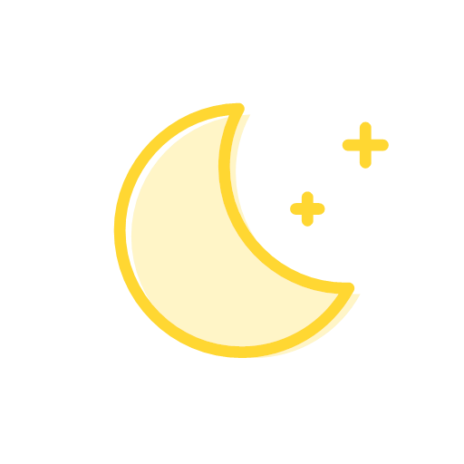 Clear at night, moon Icon