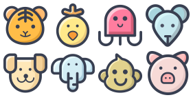 Zoo - Flat multicolor Icons