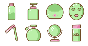 Spring cherry grass beauty series Icons
