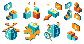 Isometric icon of international management theme Icons